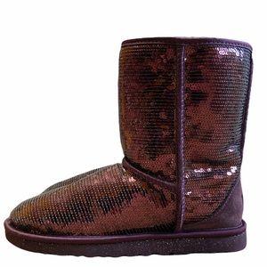 NWOT Women's rare sequin Ugg boots classic short Wine/Purple